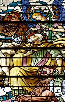 Prophet, Ezekiel, Ezechiel, Lion, Bull, Adler, Angel