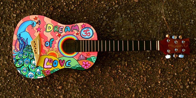 Painted Guitar, Hippie, Music, Cartoon, Player, Painted