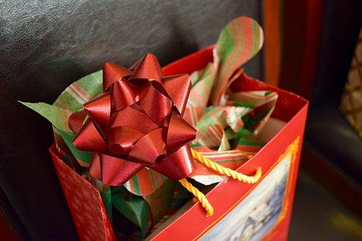 Gift, Christmas, Red, Ribbon, Bag, Bow, Holiday