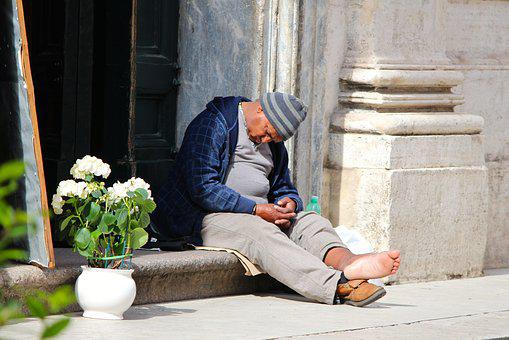Solitude, Rome, Church, Man, Homless, Sleeping