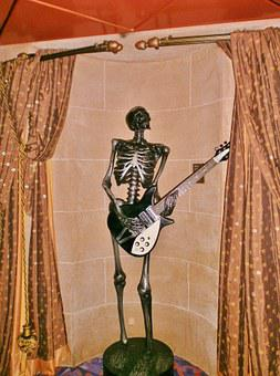 Statue, Guitar Player, Metal, Decoration