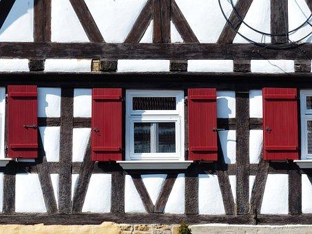 House, Truss, Fachwerkhaus, Window, Shutter, Red, Clean