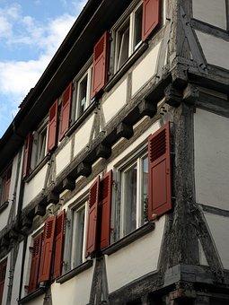 Fachwerkhaus, Truss, Home, Window, Shutter, Red, Clean