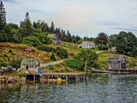 Frenchboro, Maine, Harbor, Bay, Water, Dock, Houses
