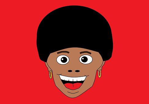Funky, Style, Afro, Black Hair, Red Background, Jovial