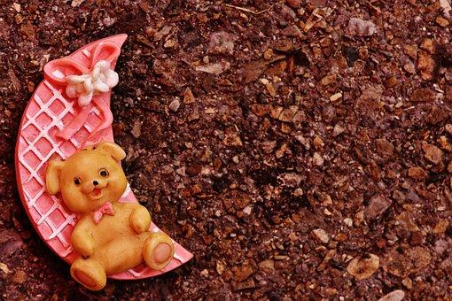 Birth, Girl, Moon, Bear, Teddy, Happy, Event, Baby