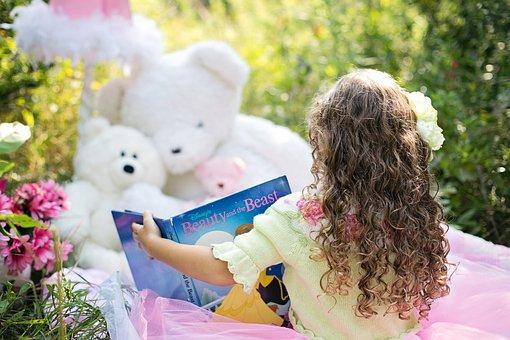 Little Girl Reading, Garden, Child, Girl, Book, Happy