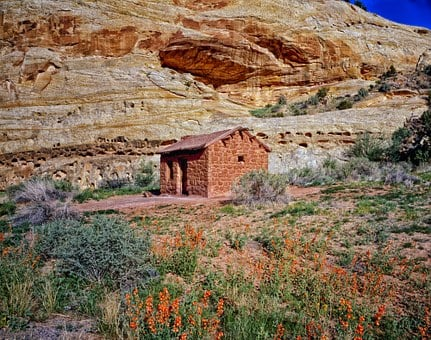 Utah, Cabin, Hut, House, Home, Brick, Mountains, Hdr