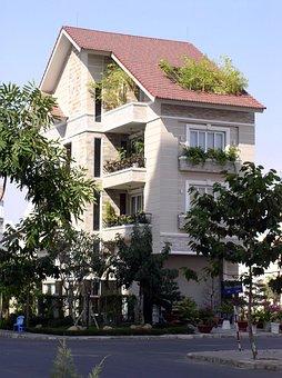 House, Green, Plant, Apartment, Tri-level, Design