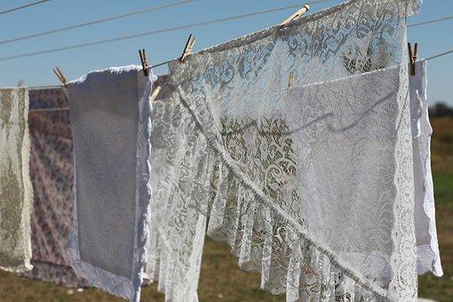 Lace, Laundry, Cloths Line, Summer, White, Vintage