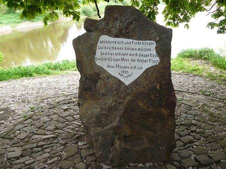 Weserstein, Lead Hann, Werra, Fulda, Weser River, Words