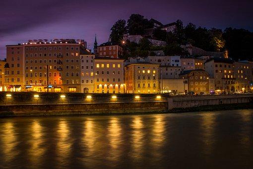 Salzburg, Salzach, River, Austria, Old Town, Lights