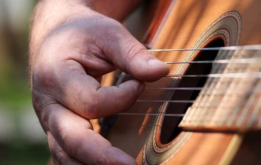 Man, Hand, Guitar, Instrument, Music, Play, Sound, Note