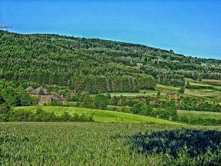 France, Mansion, House, Home, Mountains, Landscape