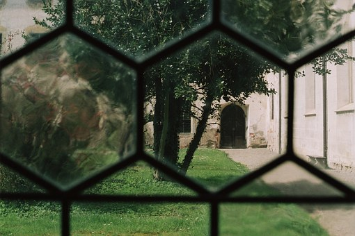 Historicized, Window, Courtyard, Hof, Monastery, Abbey