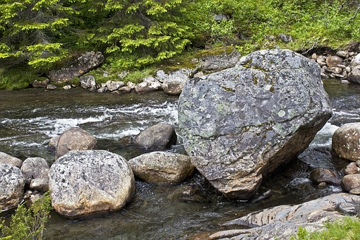Rock In Stream, Nature, River, Water, Outdoor, Mountain