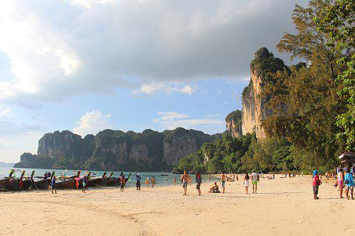 Railay, Thailand, Beach, Water, Sea, Boot, Nature, Sun