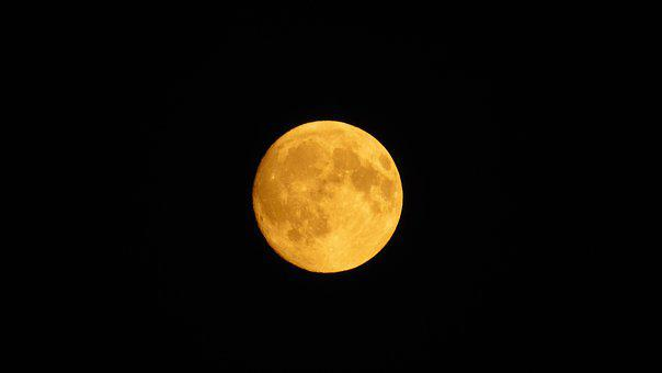 Month, Nearly Full Moon, Orange