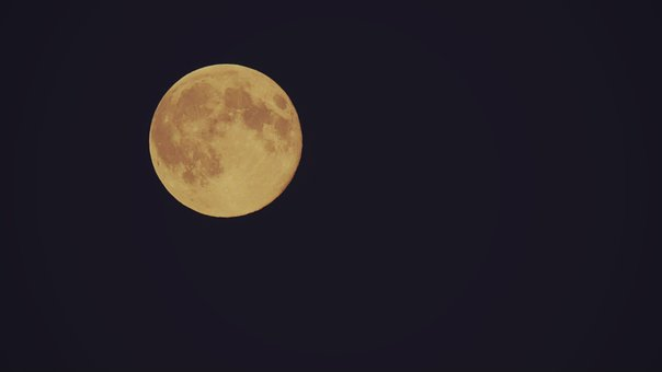 Moon, Full Moon, Orange Moon