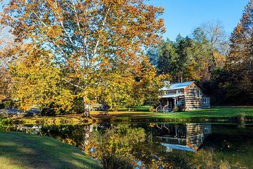 Log Cabin, West Virginia, Pond, Lake, Reflections