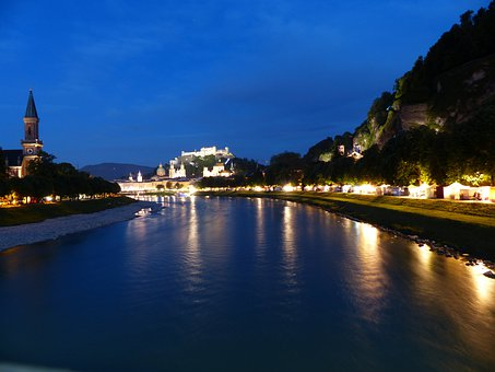 Salzburg, Night Photograph, Salzach, River, Lighting