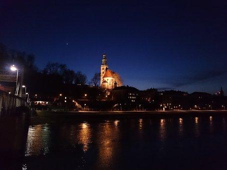 Salzburg, Austria, Evening, Müllner Church, Salzach