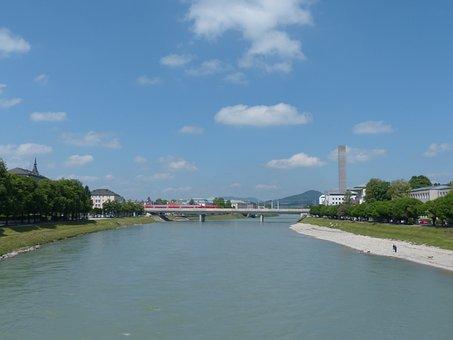 Salzach, River, Salzburg, Tower, View, Austria