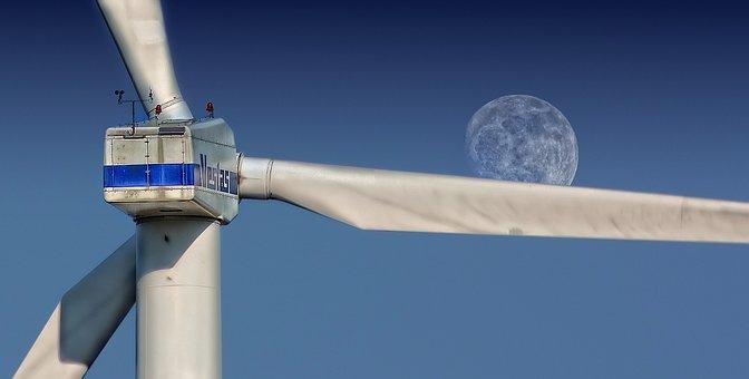 Windmill, Sky, Moon, Turbine, Wind Turbine, Wind Farm