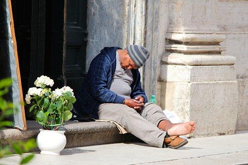 Solitude, Rome, Church, Man, Homless, Sleeping