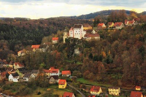 Egloffstein, Germany, Town, Mountains, Landscape