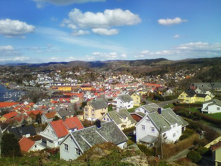 Egersund, Norway, Town, City, Urban, House, Homes, Sky