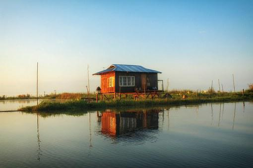 Inle Lake, Myanmar, Lake House, House, Lake, Water