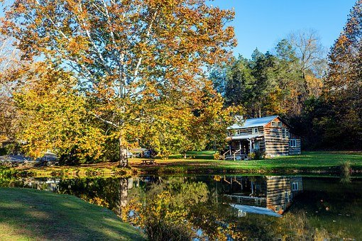 Log Cabin, West Virginia, Pond, Lake, Reflections