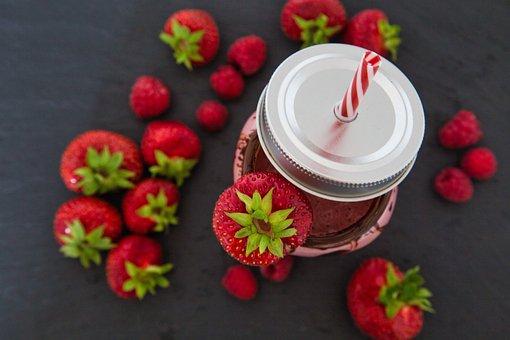 Smoothie, Strawberries, Straw, Drink