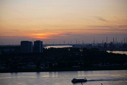 Antwerp, Evening, Sunset, Belgium, River, Dusk