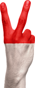 Indonesia, Flag, Hand, Peace, Victory, National