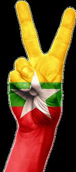 Burma, Flag, Hand, National, Pride, Peace, Victory