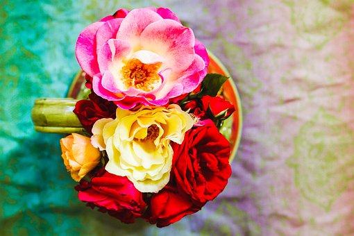 Roses, Vase, Bouquet, Flowers, Still Life, Jug, Pattern