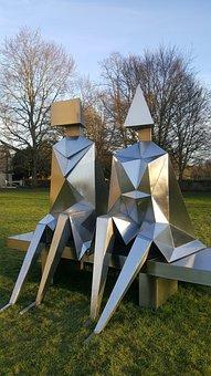 Sculpture, Shiny, Art, Metal, Modern, Figure