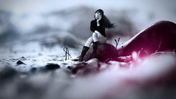Fantasy, Girl, Sit, Thinking, Mood, Female, Woman