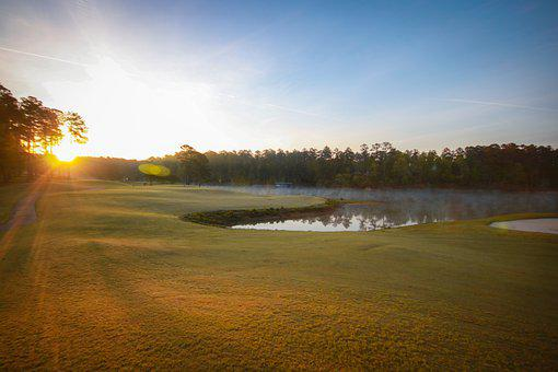 Sunrise, Golf Course, Lake, Green, Warm Color, Sky