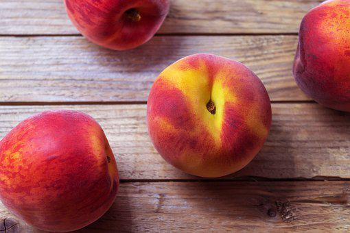 Peaches, Fruit, Food, Wooden Background