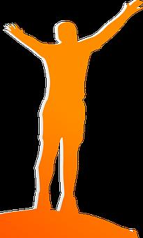 Wellness, Happy, Man, Orange, Silhouette, Winner