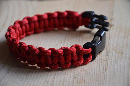 Paracord, Bracelet, Crafts, Red, Buckle, Jewelry