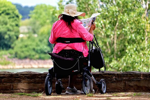 Woman, Newspaper, Rollator, Read, Age, Enjoy, Rest