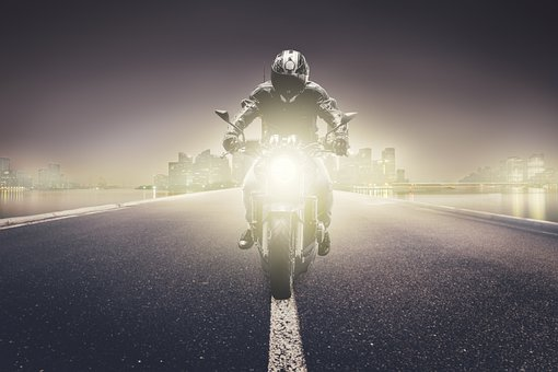 Motorcycle, City, Night, Vehicle, Road