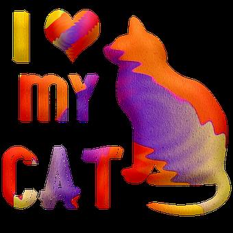 Watercolor Cat, Cat, I Love My Cat