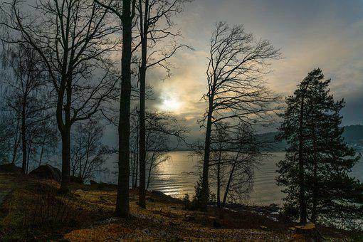 Vammen, Norway, Sunset, Water, Landscape