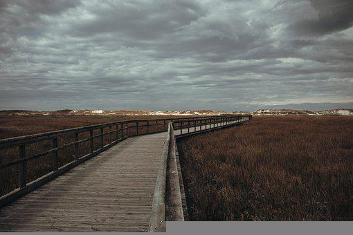 Path, Beach, Colors, Clouds, Seaside, Shore, Footsteps