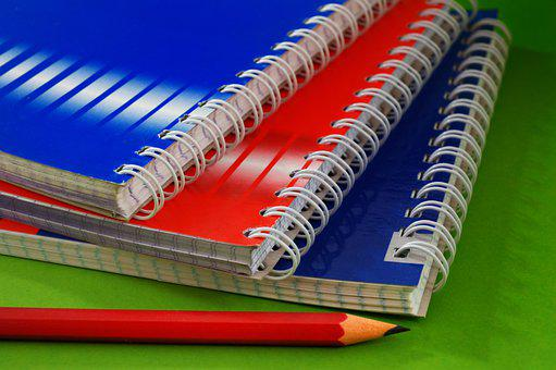 Notebook, Pencil, Eraser, Binder, Page, Spiral, Note